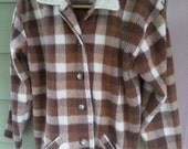 Vintage 90s Grunge Brown Plaid Fleece Jacket Shearling Collar Size S
