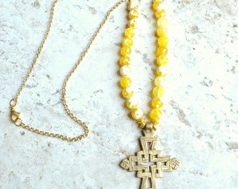 Imi - Yellow Agate Cross Chain Statement Necklace