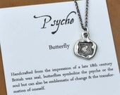 Butterfly Necklace - Wax Seal Necklace featuring a petite butterfly, Butterfly Jewelry, Wax Seal Jewlery - 269