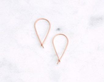 Upside Down Teardrop Earrings in Rose Gold, Hammered Wire Hoops in Pink Gold, Modern Minimalist Inverted Teardrop Hoops, Gift for Her