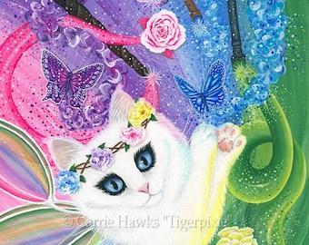 White Fairy Cat Art Rainbow Cat Painting Springtime Magic Tarot Art 4 of Wands Fantasy Cat Art Print 12x16 Cat Lovers Art