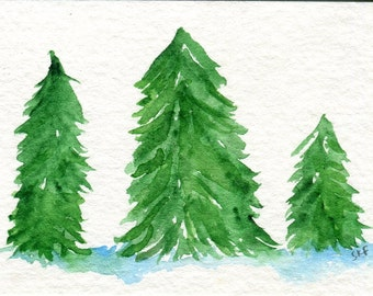ACEO Christmas Trees Original Watercolor Painting, Art Card, Christmas decor