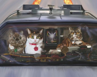 Back to the Future, Custom Pet Portrait, Cats Driving, Delorian art, Digital Painting on Canvas, Fantasy Pet portrait