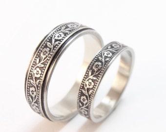 Wedding Band Set - Petunia Wedding Ring Set 14k Gold Wedding Ring - Men's Wedding Band, Women's Wedding Band, Women's Wedding Ring