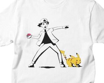 Pokemon Shirt - Banksy Shirt - Pikachu Shirt - Video Game Shirt - Pokemon Top - Banksy Top