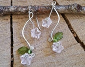 Pink Flowers and Tendrils Double Vines Glass Earrings, Glass Flower Earrings, Dangle Earrings, Czech Glass Beads Flower Jewelry, Women, Girl