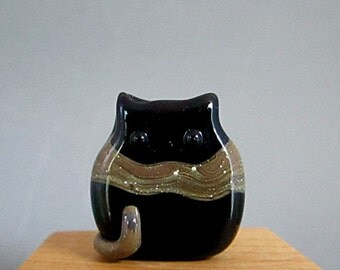 Handmade Lampwork Cat Bead Focal - Mara FatCat