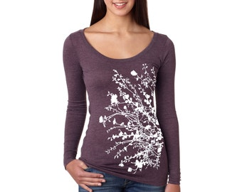 Large- Vintage Purple Tri-Blend Long-Sleeve Scoop Neck with Flowering Branches Screen Print