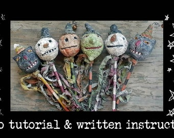 Online Video Tutorial With PDF epattern Paper Mache Primitive Halloween Christmas Ornaments Rattle Wands Hickety Pickety