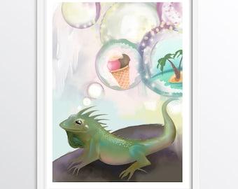Reptile Animal wall art - Iguana Imagining Ice-cream and Islands - Alphabet Art for children: I - A3 fine art print for children's rooms