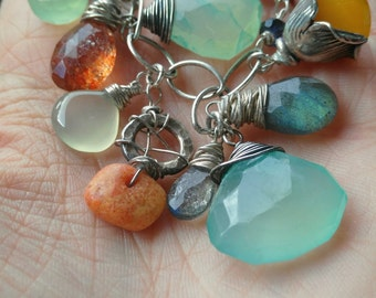 Swept from the Sea, Charm Bracelet, Silver Charm Bracelet, Gemstone Charm Bracelet, Blue, Orange, Blue and Orange, Coral, Mint, Charms
