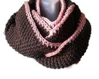Brown and Pink Circle Scarf Infinity Scarf Preppy Vegan SAMANTHA Ready to Ship Sister Girlfriend Gift - Autumn Winter Fashion