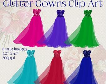 Glitter Gowns Clip Art, Set of 6 PNG Images, Quinceanera Gowns, Dresses Clip Art, Digital Scrapbooking Elements, Dresses Graphics, Clipart