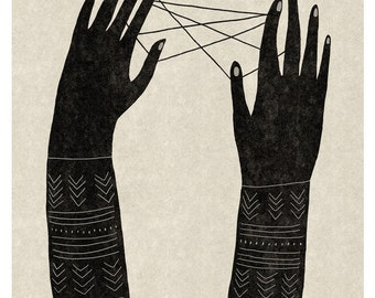 Jeu de Ficelle / Fine art Print / Poster / Hands / Illustration