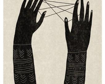 Jeu de Ficelle / Fine art Print / Poster / Hands / Illustration