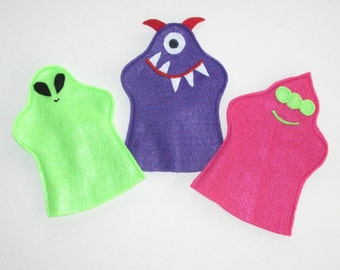 Friendly Alien Puppets - Set of 3 Monsters - Party Favors - Hand Puppets - Felt