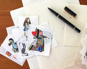 36 Large Alice in Wonderland Die Cut Stickers Seals Labels | Color Vintage Illustrations | Assorted Embellishments Tags | Die Cut Acid Free