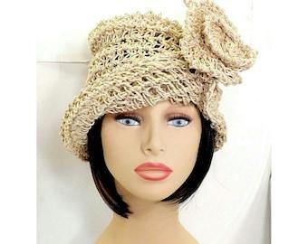 Summer Cloche Hat,  Floppy Summer Hat,  Sun Hats for Summer,  Cloche Sun Hat,  Cute,  Ombretta 1920s Cloche Hat in Natural