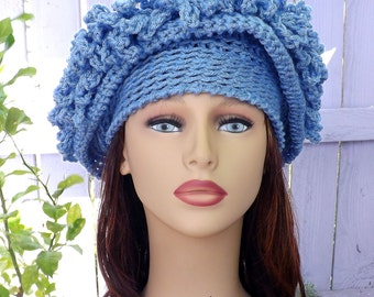 Medium Blue Cloche Hat,  Womens Crochet Hat,  Blue Womens Hat 1920s,  Steampunk Hat,  African Hat,  Blue Hat,  Linda 1920s Cloche Hat