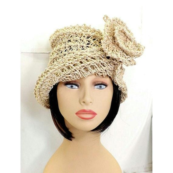 Crochet Sun Hat for Women , Womens Hat Trendy, Hemp Hat, Natural Hat, Crochet Flower,  OMBRETTA Cloche Hat, Formal Hat