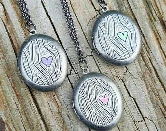 Woodgrain Heart Locket, Wood You Necklace, Valentine's Day Gift, Wife Gift, Mom Gift, Anniversary Gift, Girlfriend Gift, Best Friend Gift
