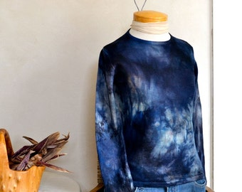 Midnight Blue Hand Dyed Merino Sweater Crew Neck Deep Black Blue Gray