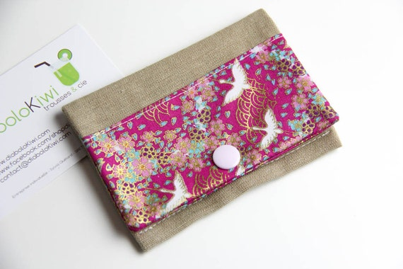 Card holder - cranes birds - Japan - pink - gold - blue - snap - business cards - shopping - transport card - gift - woman - Valentine's day