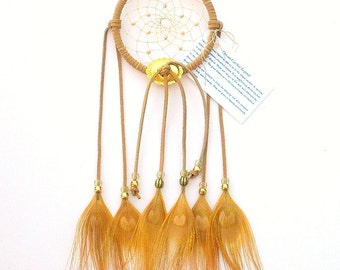 Tan Dream Catcher, Peacock Eyes Feathers