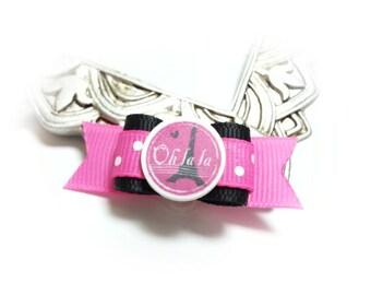 French Dog Bow, Eiffel Tower Bow, Paris Dog Hair Bow, Pink Dog Bow
