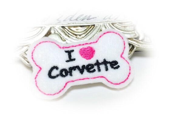 Dog Bone, Dog Hair Bow, Pink Corvette DOG HAIR BOW, Corvette Gifts, Corvette Lovers, Car Accessories for Pets