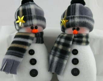 Snowman Ornaments, Set of 2, Flurrie Frizzle, Christmas Decoration, Handmade, Stuffed Snowman, Snowman Ornaments In Black & Tan Plaid Fleece