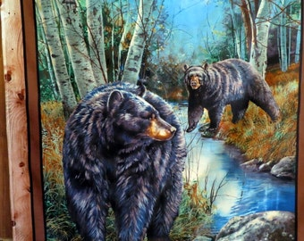 Black Bears in Birch Trees with Stream Wall Hanging Beautiful No Tabs
