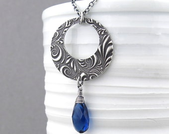 Sapphire Necklace Sterling Silver Necklace Pendant Blue Necklace Bohemian Jewelry As Seen On The Vampire Diaries - Luxe Erin