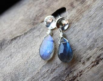 labradorite earrings, blue gemstone jewelry, sterling silver posts, small labradorite earrings, gift for her