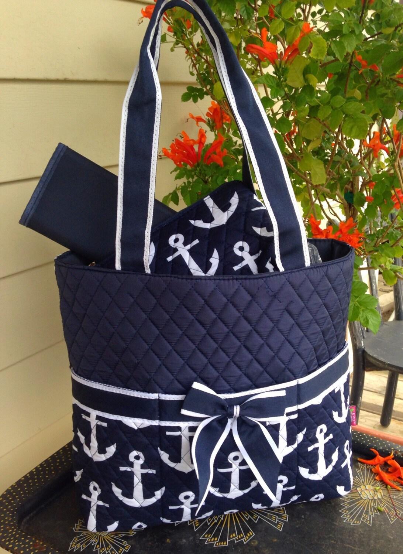 new 3 piece navy anchor diaper bag set includes name or. Black Bedroom Furniture Sets. Home Design Ideas