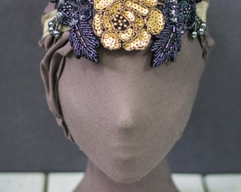 Gold and Pewter Embellished Sequin Beaded Floral detail Headpiece