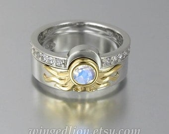 Sun and Moon ECLIPSE engagement and wedding ring set in 18k &14k gold with Moonstone and white sapphires