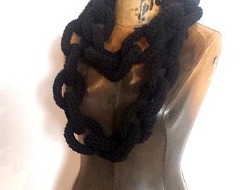 Black Crocheted Chain Link Eternity Scarf / Necklace - Extra Long or Regular Length Vegan Friendly Acrylic Oversized Chainlink Neckscarf