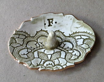 Personalized Ceramic Ring Holder  Letter F edged in gold