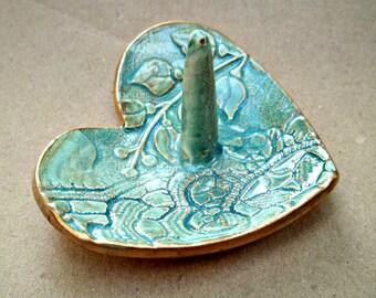 Ceramic Ring Holder Bowl Sea green gold edged
