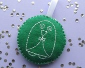Embroidered Penguin Bauble, Felt Christmas Ornament