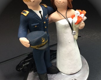 Dress Blues Military Uniform Wedding Cake Topper, Blackhawk Helicopter Pilot Wedding Cake Topper, Air Force Pilot's Wedding Cake Topper