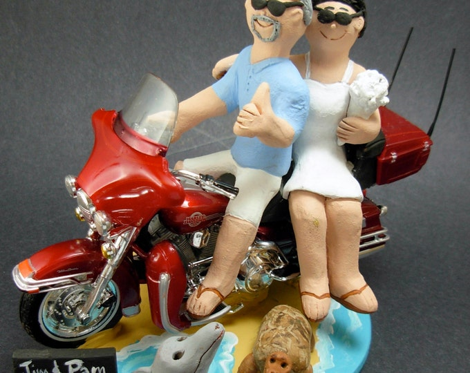 Harley-Davidson Motorcycle Wedding Cake Topper, Bikers Wedding Cake Topper, Motorcycle Bride and Groom Wedding Cake Topper, motorcycle Bride