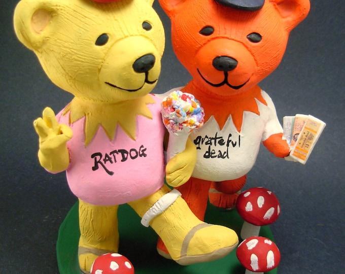 Jerry Bears with Grateful Dead Concert Tickets Wedding Cake Topper, Grateful Dead Dancing Bears Wedding Cake Topper, Jerry Bear Cake Topper