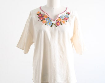 Vintage Muslin Top with Floral Embroidery