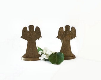 Brass Angel Candle Holders, Pair Vintage Embossed Christmas Candlesticks, Religious Holiday Decor