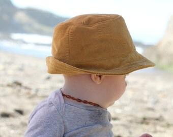 Mustard Corduroy Baby Fedora Sun Hat