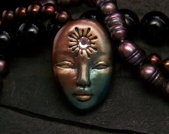 Starburst Sun Goddess handmade Face Cab Metallic Silver, Gold, Green, & Black Polymer Clay Cabochon