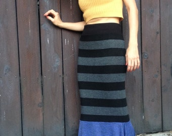 Woman's mermaid pencil Skirt long Spicy Toast striped black blue small/medium