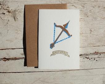 Sagittarius the Archer zodiac letterpress linocut card